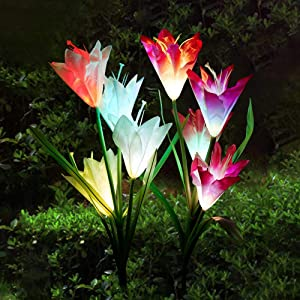 Set of 2 Outdoor Solar Garden Stake Lights Color Changing Solar Powered Flower Lights Outdoor Solar Garden Decorations for Patio, Yard, Pathway, Backyard