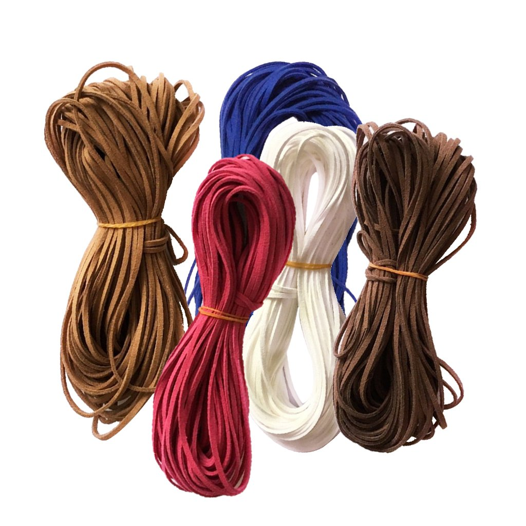 MonkeyJack 5 Pieces Flat Faux Suede Korean Velvets Leather Cord String for Jewelry Findings 4 Meters Each 1#