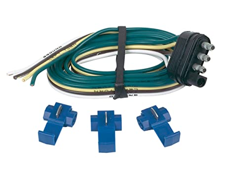 Hopkins 48125 4 Wire Flat Trailer End Connector With Splice Connectors