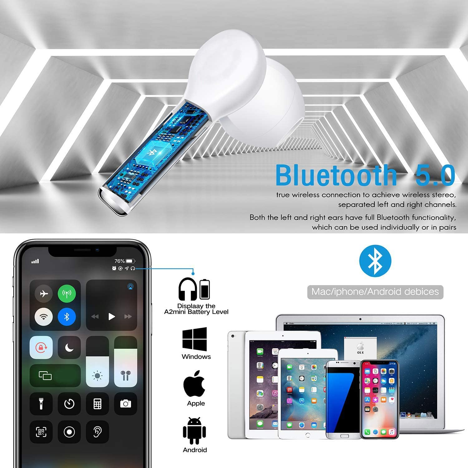 Wireless Earbuds Bluetooth 5.0 Headphones CVC8.0 Noise Canceling Bluetooth Headphones in-Ear 3D Stereo Headset with Fast Charging Case for iPhone//Samsung//Android AirPods Pro Apple Earbuds
