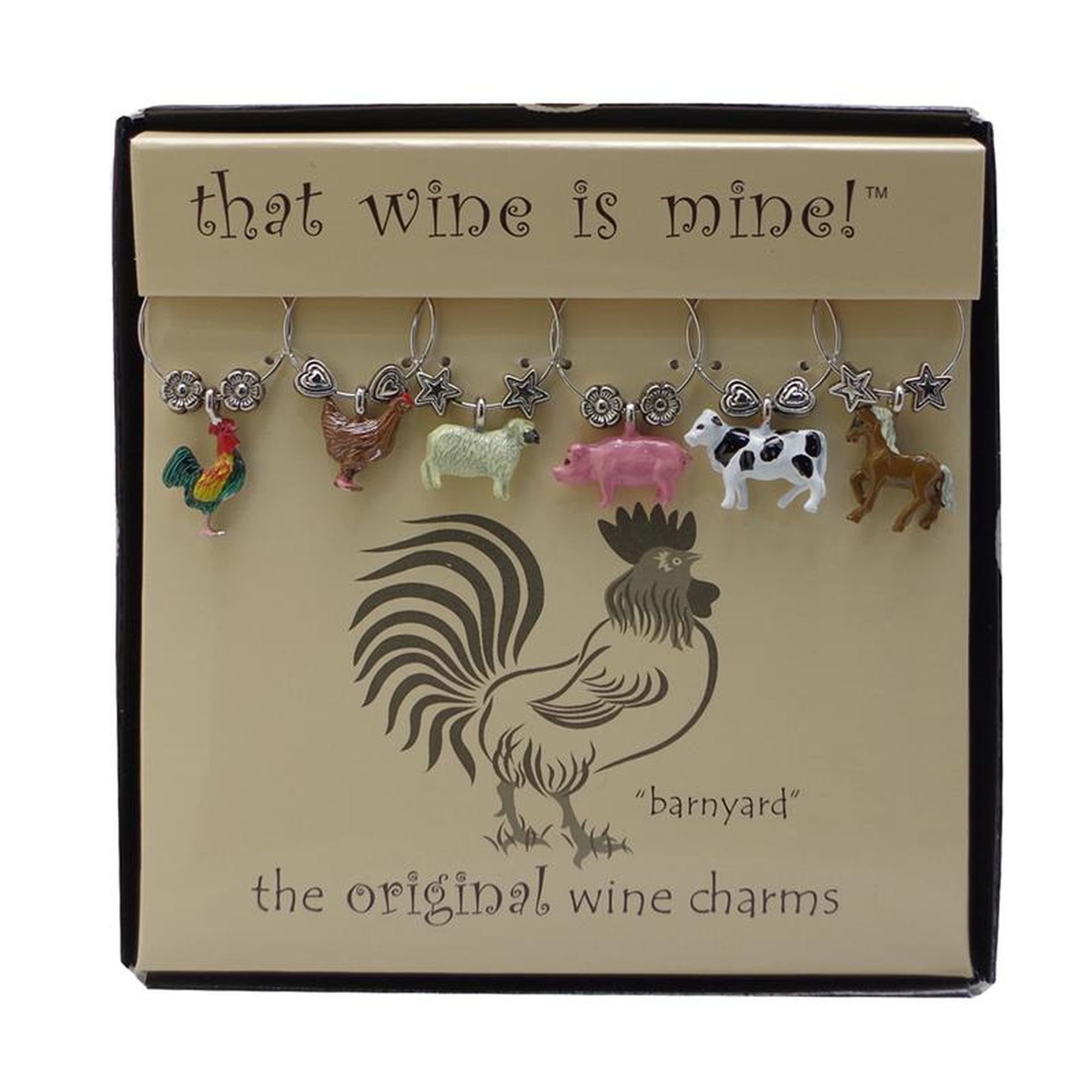 Wine Things WT-1439P Barnyard, Painted Wine Charms, Fits neatly around stem, Multi-Color by Wine Things