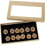 """12 Piece Set of Wine Glass Charms - Natural Cork Funny Design """"Wine Lover"""" Themed Glass Decorations for Parties, Gatherings, Reunions - 1 x 0.19 inches"""