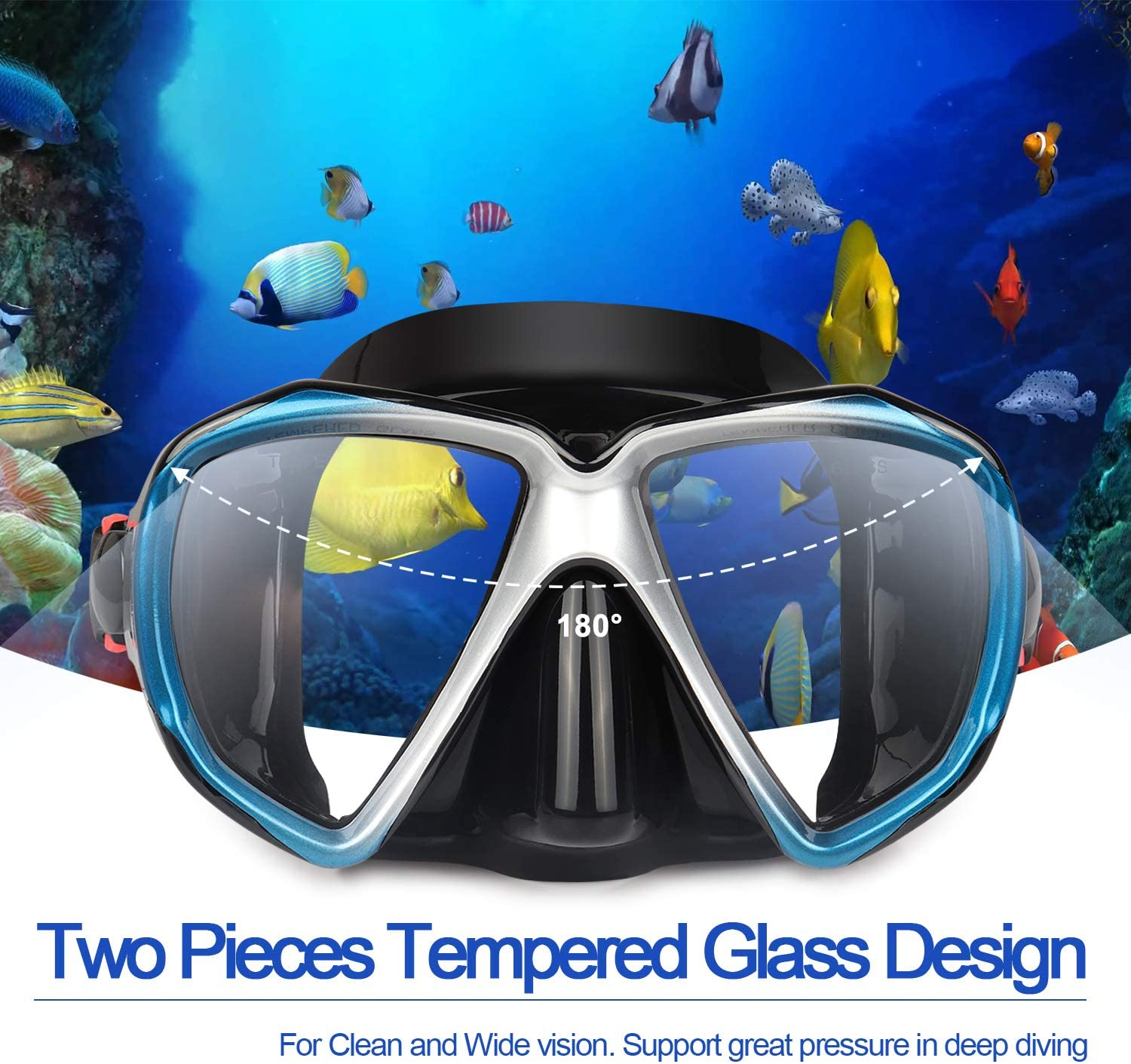 Tempered Anti-Fog Lens Glasses Snorkel Goggles Swimming EXP VISION Snorkel Diving Mask Set Scuba Dive Snorkel Mask with Silicone Skirt Strap for Dry Snorkeling Panoramic HD Scuba Swim Mask