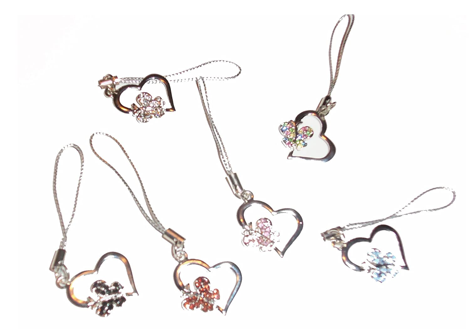 Style 02031 UR Cell Phone Charms ~ Butterfly Heart with Rhinestones Cell Phone Charm Set of 6