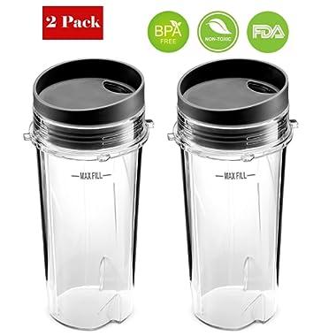 Replacement Ninja 16 Oz Cup - For Nutri Ninja BL770 BL780 BL660 Blender 2-Pack