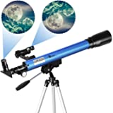 TELMU Telescopio Astronómico - Telescopio Refractor F60050M / 5 con EspejoDiagonal de 45 ° y Observador dePuntos Rojos, Ocular - H12.5 mm y H20mm, Regalo para Principiantes y Niños