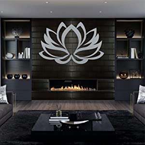 "Metal Wall Art, Metal Lotus Flower Art, Silver Grey, Wall Silhouette, Metal Wall Decor, Home Office Decoration Bedroom Living Room Decor, Wall Hangings (30""W x 20""H / 76x51 cm)"