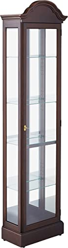 Howard Miller Drake Corner Curio Cabinet 680-483 Cherry Bordeaux Glass Display Shelf Case with Light