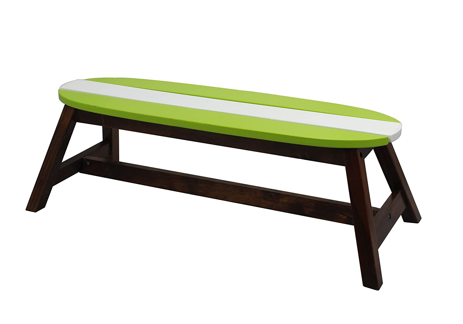 Amazon.com: Teamson Kids   Kids Surfboard Outdoor Table And Bench Set With  Umbrella   Grass Green/ White: Toys U0026 Games