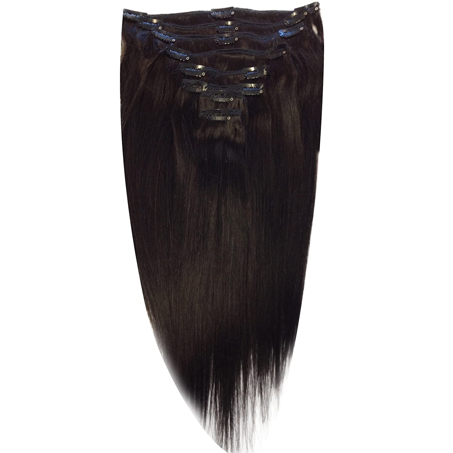 22 Inch Off Black Col 1b Full Head Clip In Human Hair Extensions