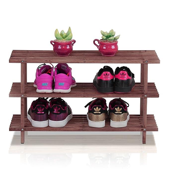 amazoncom furinno pine solid wood 3tier shoe rack espresso home u0026 kitchen