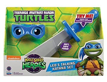 Teenage Mutant Ninja Turtles Media Concha Héroes Leonardo Armas Blandos y Bandana Electronic Set Juegos de rol