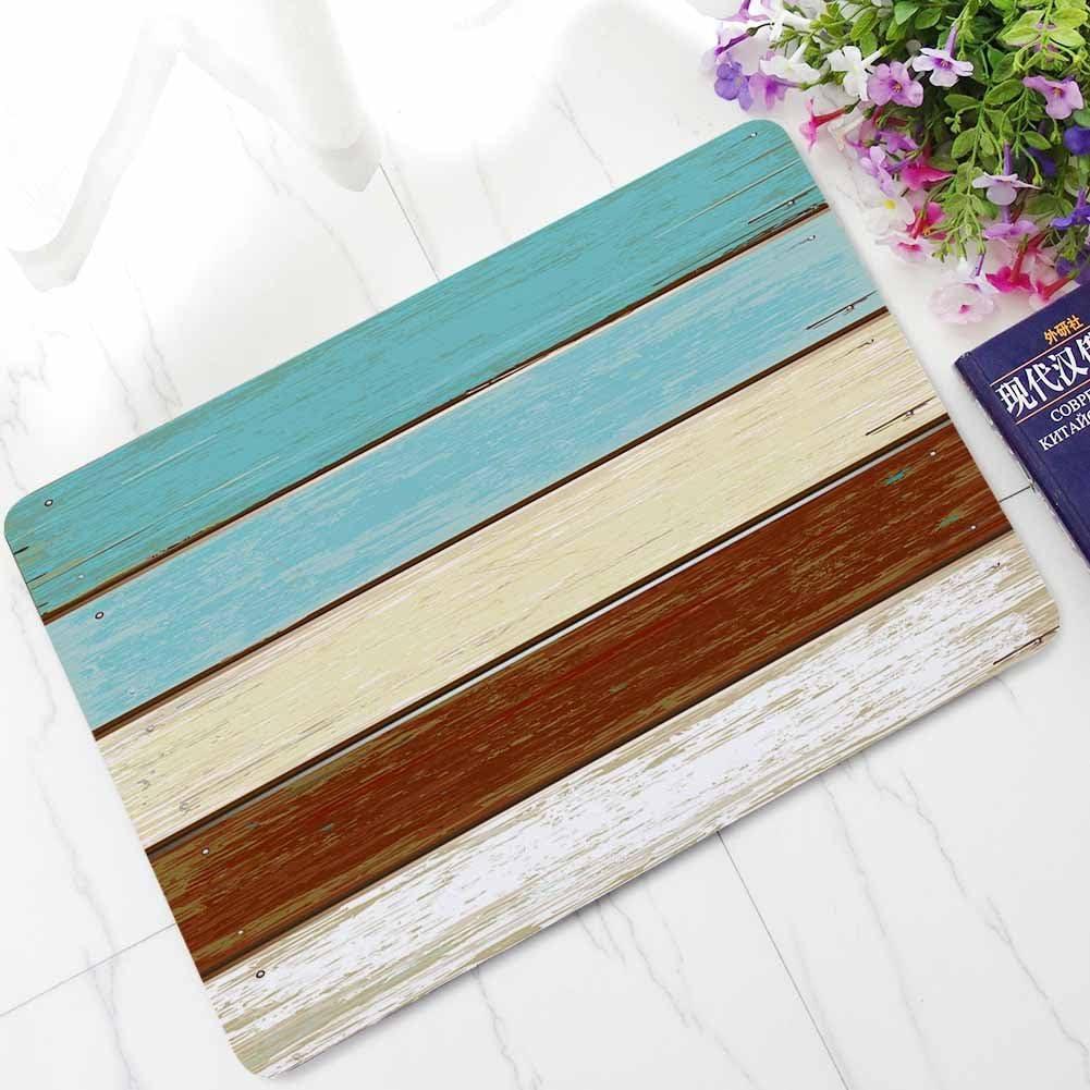 OHYESS Multicolor Vintage Wood Board Plank Non-Slip Decoration Household Bedroom Kitchen Indoor Outdoor Floor Mat Bathroom Home Rug Area Doormat 16*24