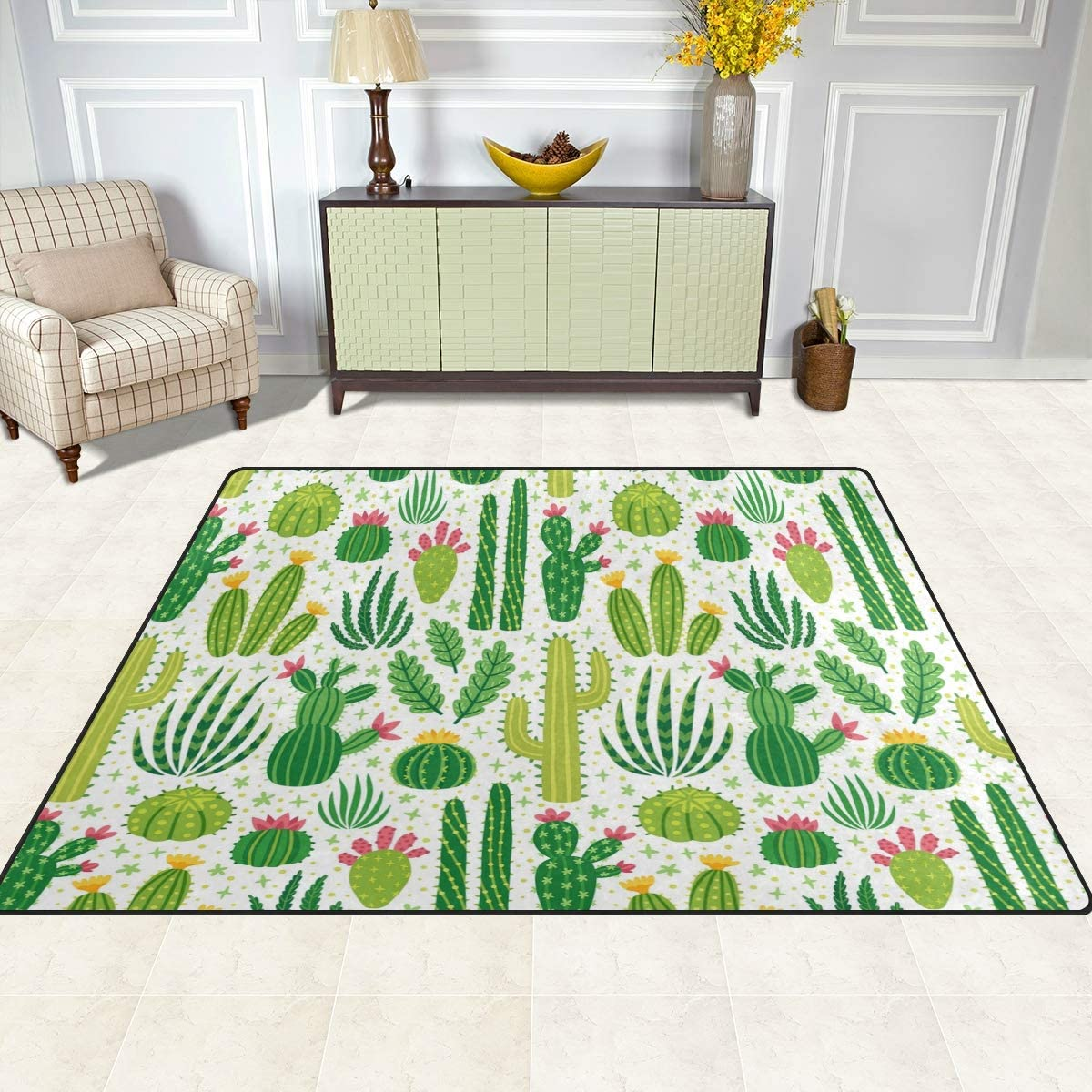 Naanle Cute Cartoon Non Slip Area Rug for Living Dinning Room Bedroom Kitchen Cactus Nursery Rug Floor Carpet Yoga Mat 1.7 x 2.6 ft 50 x 80 cm