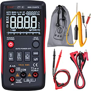 Bside EBTN Digital Multimeter 3-Line Display 9999 Counts Button Design True RMS Auto-Ranging DMM AC/DC Amp Volt Ohm Hz Diode Temperature Capacitance Continuity Voltmeter with Alligator Clip