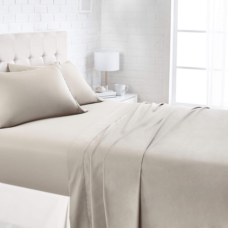 AmazonBasics 1100TC Luxury Easycare Sheet Set - Queen, Beige