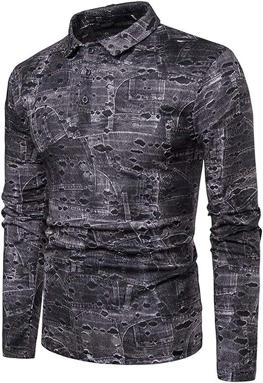 Camisa de hombre Hombres ahueca hacia fuera POLO Tops Camisa con solapa con respaldo de cuello