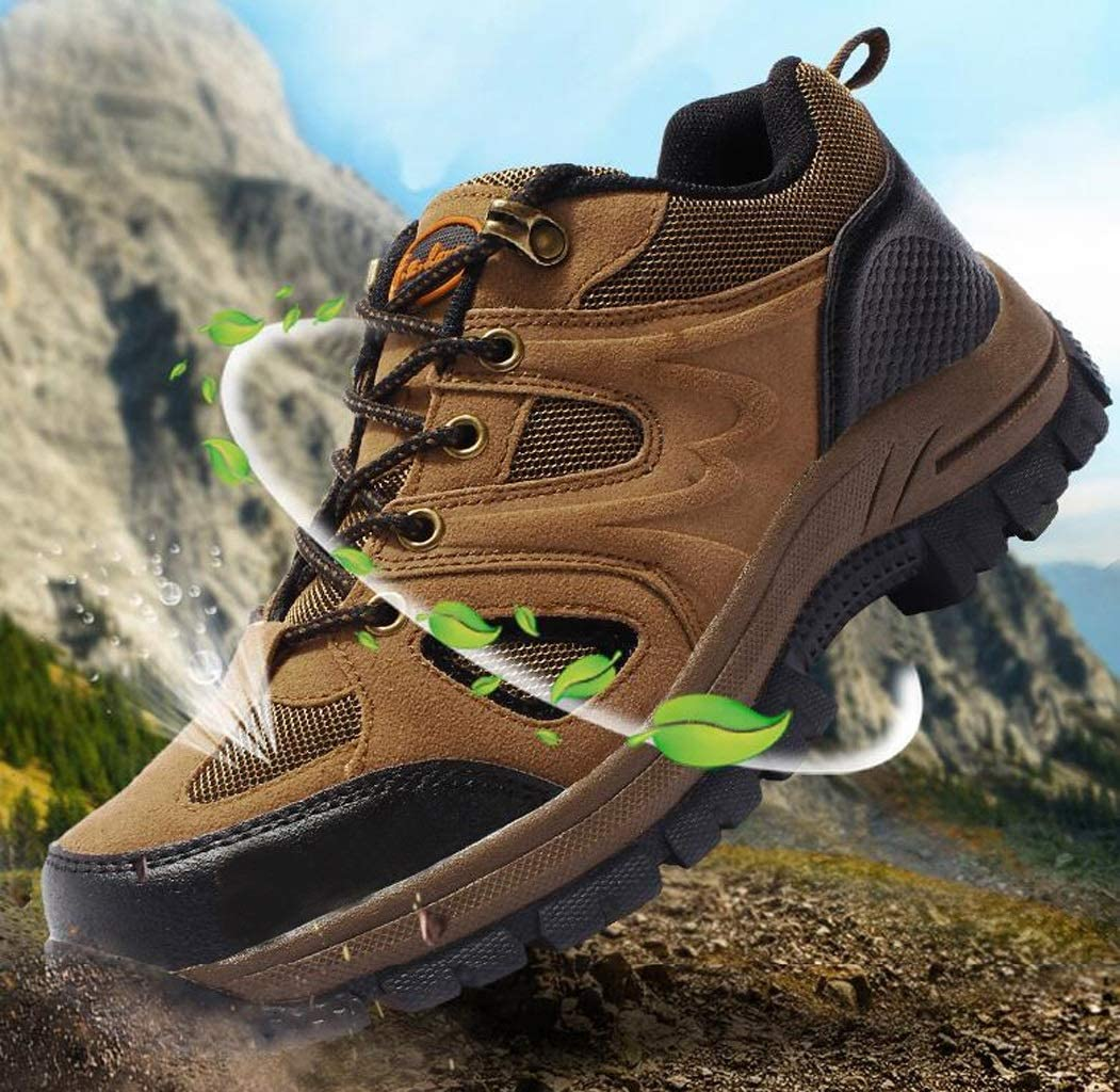 FGSJEJ Mens Outdoor Hiking Shoes Waterproof Leather Hiking Shoes Low Waist Comfort Lightweight Non-Slip Lace-Up Casual Shoes Color : Gray, Size : 40