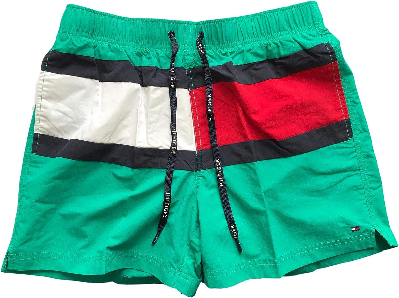 Tommy Hilfiger Bañador para hombre con bandera de cordón mediano Verde verde S: Amazon.es: Ropa y accesorios
