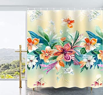 Elliptic Leaf Waterproof Bathroom Polyester Shower Curtain Liner Water Resistant