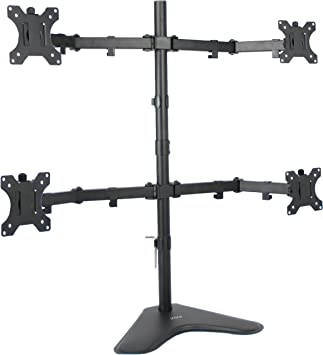 USED Quad LCD Monitor Desk Mount Stand Heavy Duty Fully Adjustable