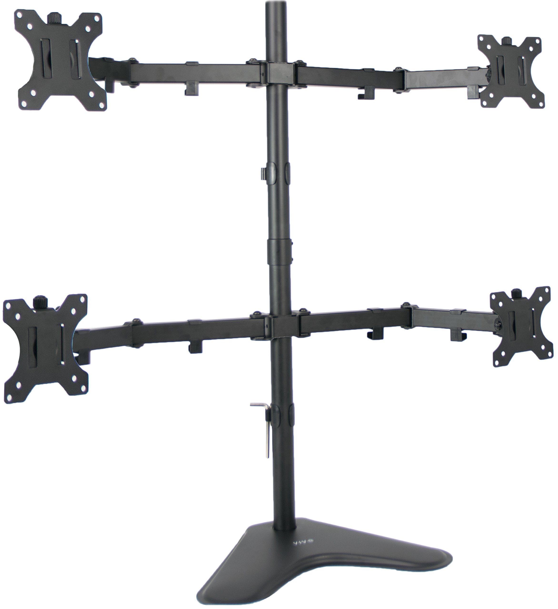 VIVO Quad LCD Computer Monitor Mount Free Standing Heavy Duty Desk Stand, Fully Adjustable, Holds 4 Screens up to 30 inches STAND-V004F