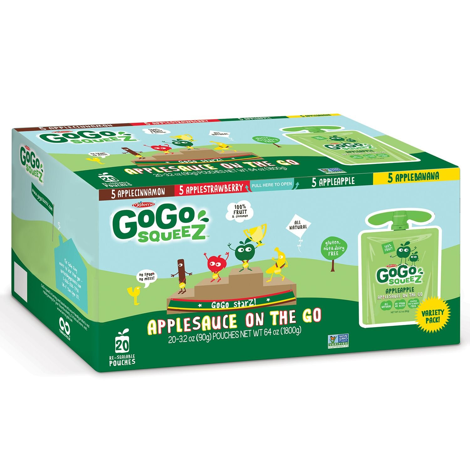 Materne GoGo Squeez Organic Applesauce On the Go, 3.2 Oz (Pack of 20)