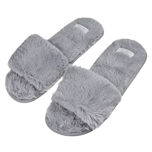 8b9002e474e1b Fashion Indoor Warm Fleece Slide On Slippers, Womens Ladies Girls Spa Flip  Flop Furry Faux