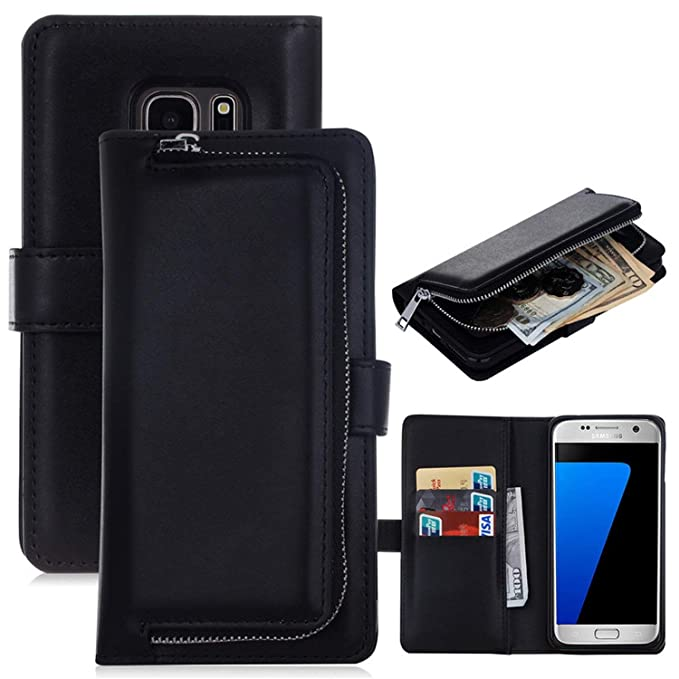 huge selection of a7100 75d47 Amazon.com: Zipper Wallet Phone Case for Samsung Galaxy S9 S8 Plus ...