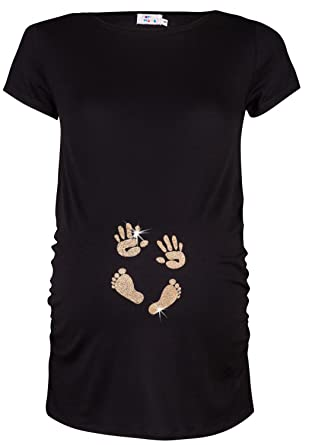 d7730ad4a6e0c Happy Mama. Women's Maternity T-shirt Tee Shirt Baby Feet Hands. 013p (