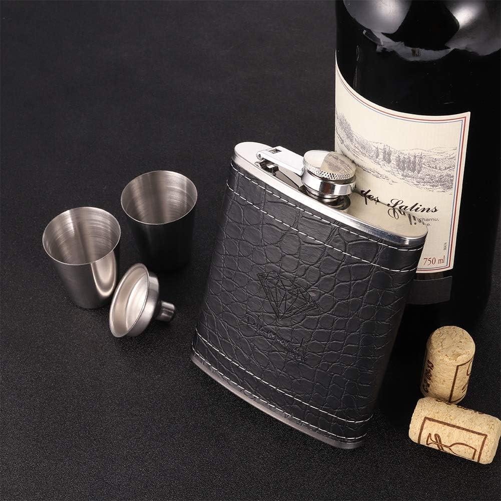 2 paquetes de 2 embudos para whisky//vodka//vino//alcohol Voarge regalo con caja de regalo Juego de petaca y embudo de acero inoxidable