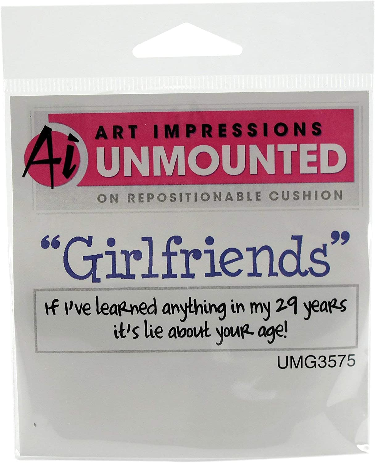 Wine a Bit Art Impressions Girlfriends Cling Rubber Stamp 3.25 by 2.75-Inch