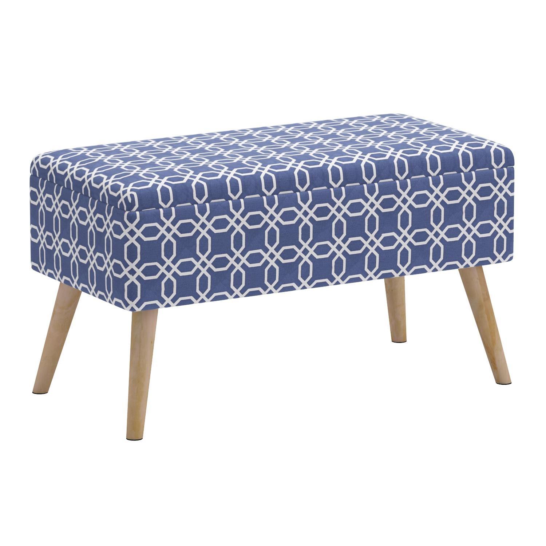 Mid Century Ottoman Bench Upholstered Shoe Seats Sturdy Legs Storage