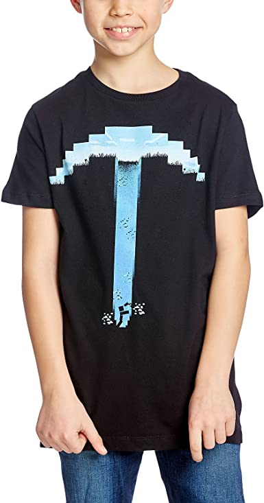 Minecraft Algodón Negro Pico Camiseta: Amazon.es: Ropa y ...