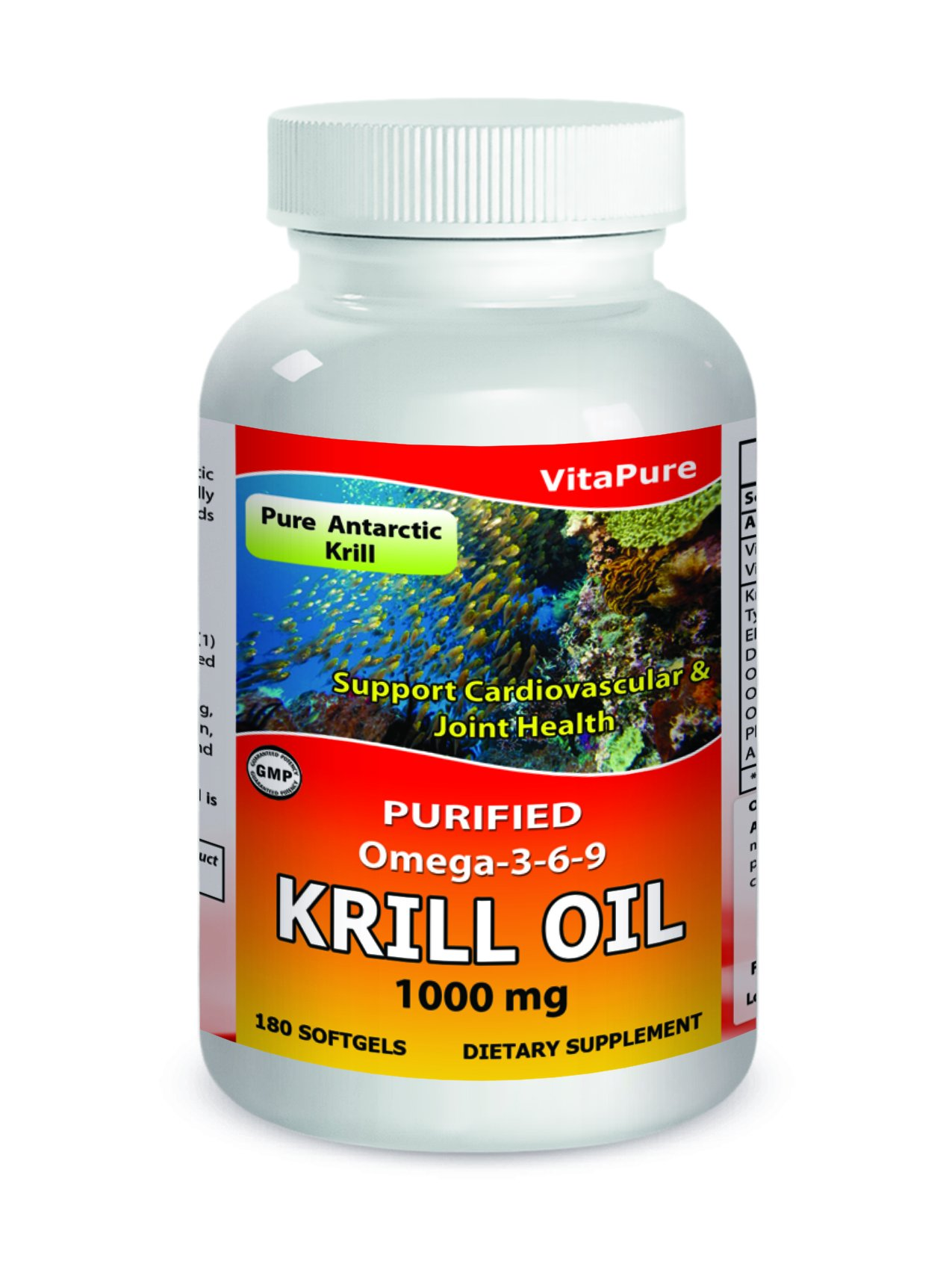 VitaPure Krill Oil 1000 mg 180 Softgels - Pure Antarctic Krill - Purified Omega 3-6-9 -Supports Cardiovascular and Joint health by Pure Vita