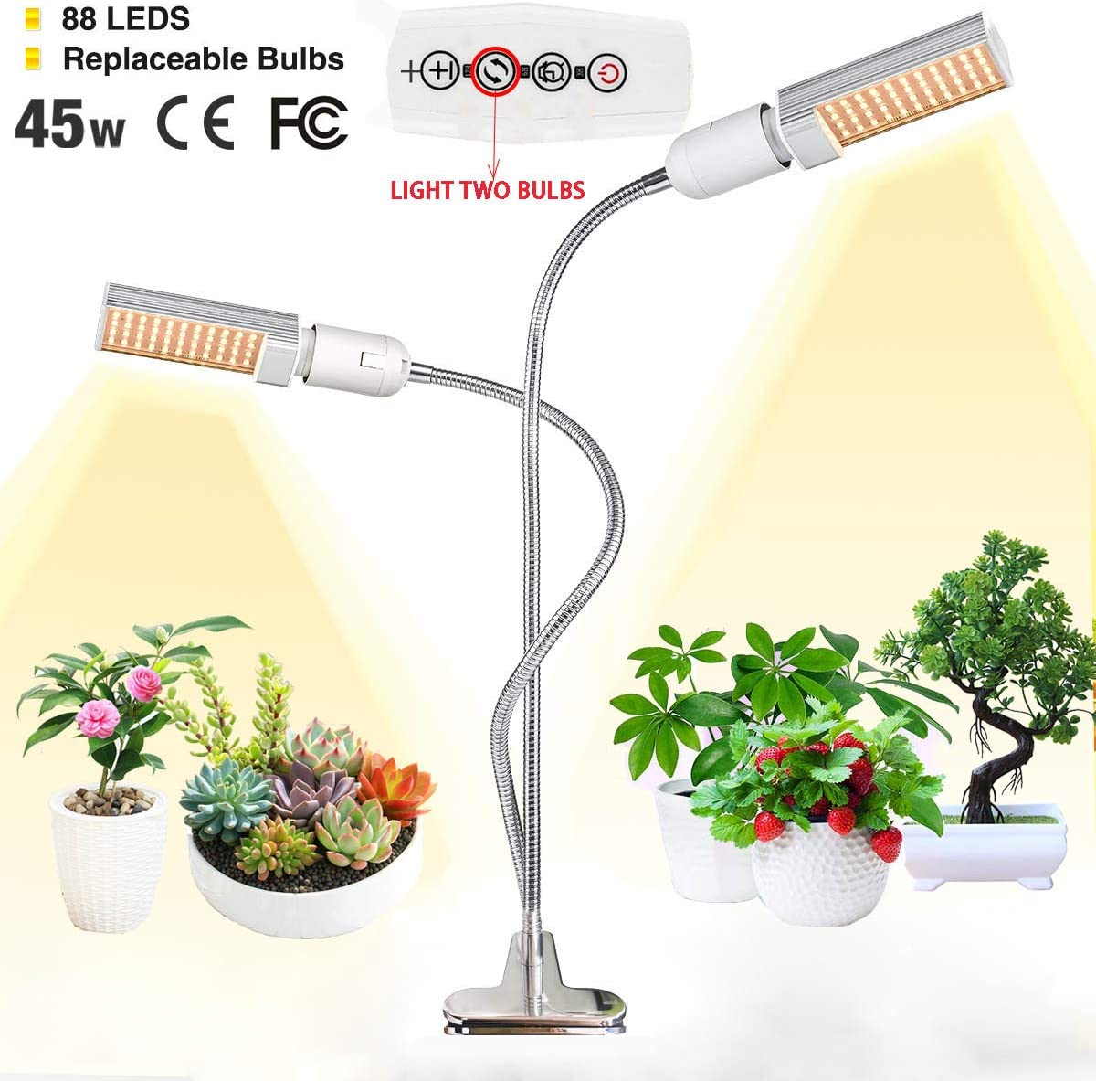 LED Grow Light for Indoor Plant,LINKO 45W Sunlike Full Spectrum Grow Bulbs Lamps,Plant Grow Light with Replaceable Bulb with Newest Auto Timer, 3 6 12H Timing, Professional for Seedling Growing Bloo