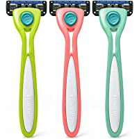 Preserve Shave 5 Five Blade Refillable Razor, Made from Recycled Materials, Assorted Colors: Coral/Neptune/Key Lime (Color May Vary)