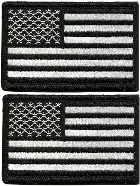 Tacvasen - Parche bordado para coser de la bandera de los Estados Unidos., hombre, Negro y blanco: Amazon.es: Deportes y aire libre