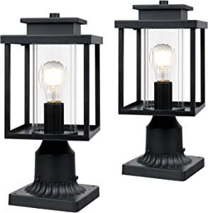 "Osimir Outdoor Post Light 2 Pack, 1-Light Exterior Post Lantern with Pier Mount Base, Lamp Post Light Fixture in Black Finish with Cylinder Glass, 6.7""W x 15""H, 2353/1G-2PK"
