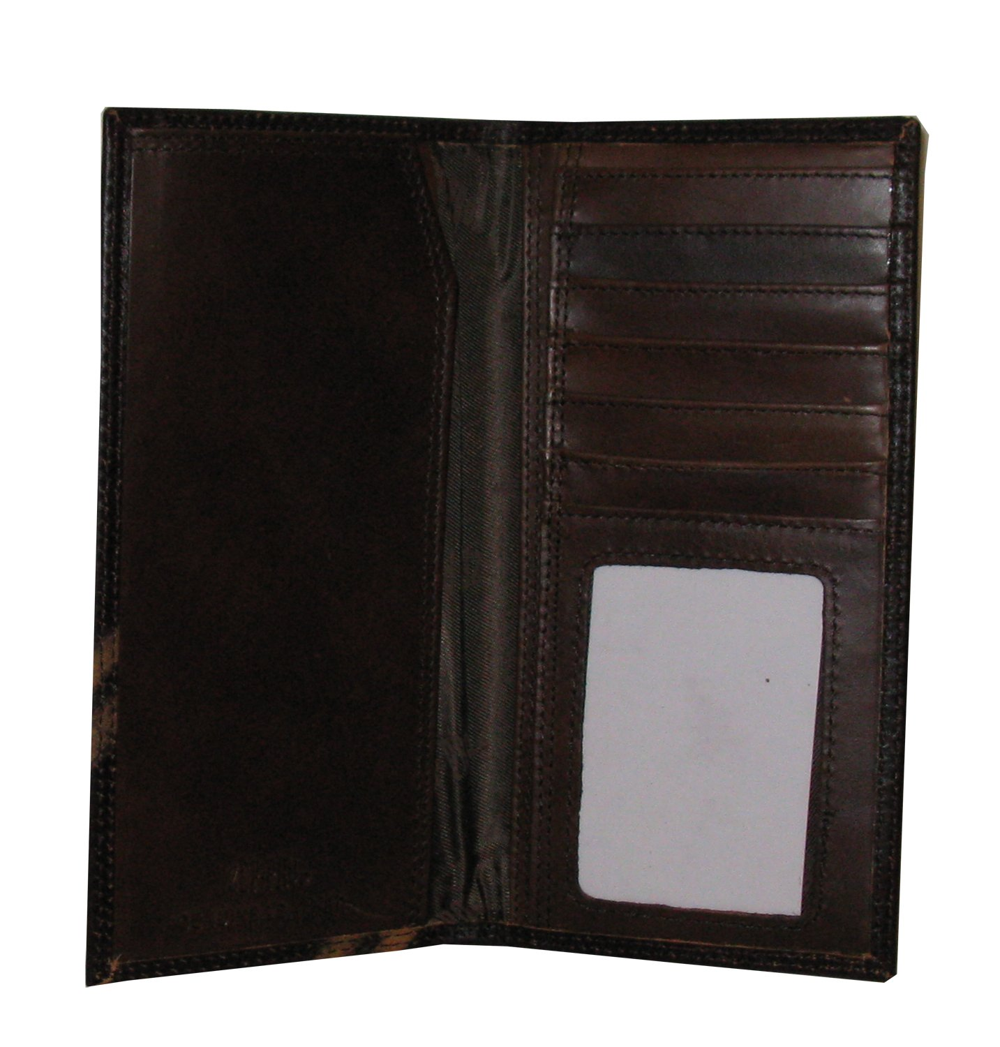 Leather Wrinkle Brown Long Roper Wallet Red Fish