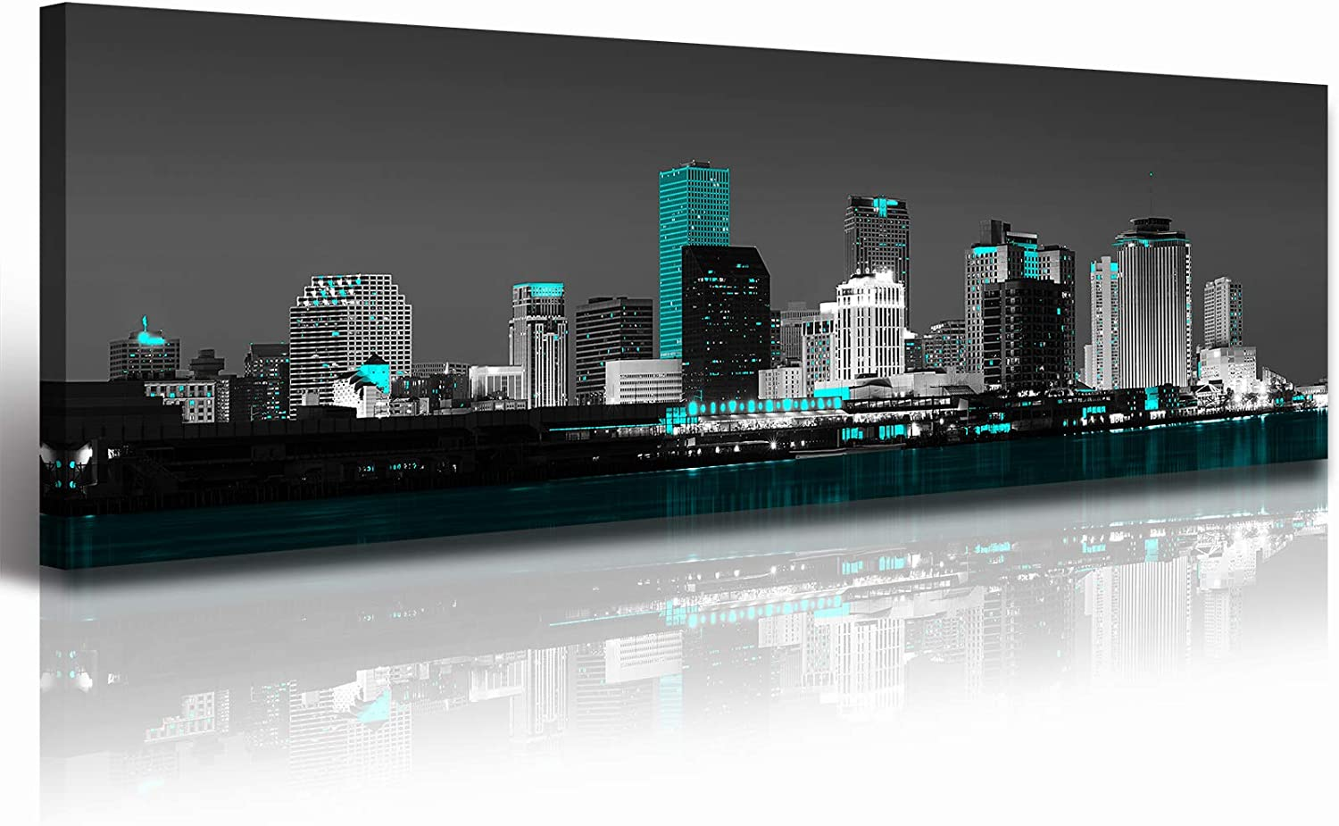 """New Orlean Canvas Wall Art Aqua Green Teal Panorama Cityscape Pictures For Living Room Decor Black and White Skyline City Artwork Painting Contemporary Office Decorations 14""""X48"""" StretchedandFramedReadytoHang"""