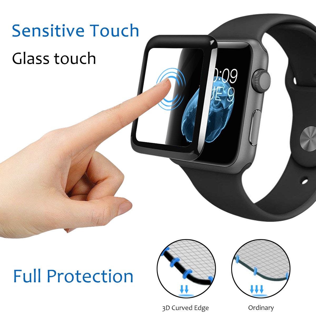 Series 4 Apple Watch Screen Protector Liquid Skin Tempered Glass Clear Film Max Coverage for Series 3/2/1[1 Pack]