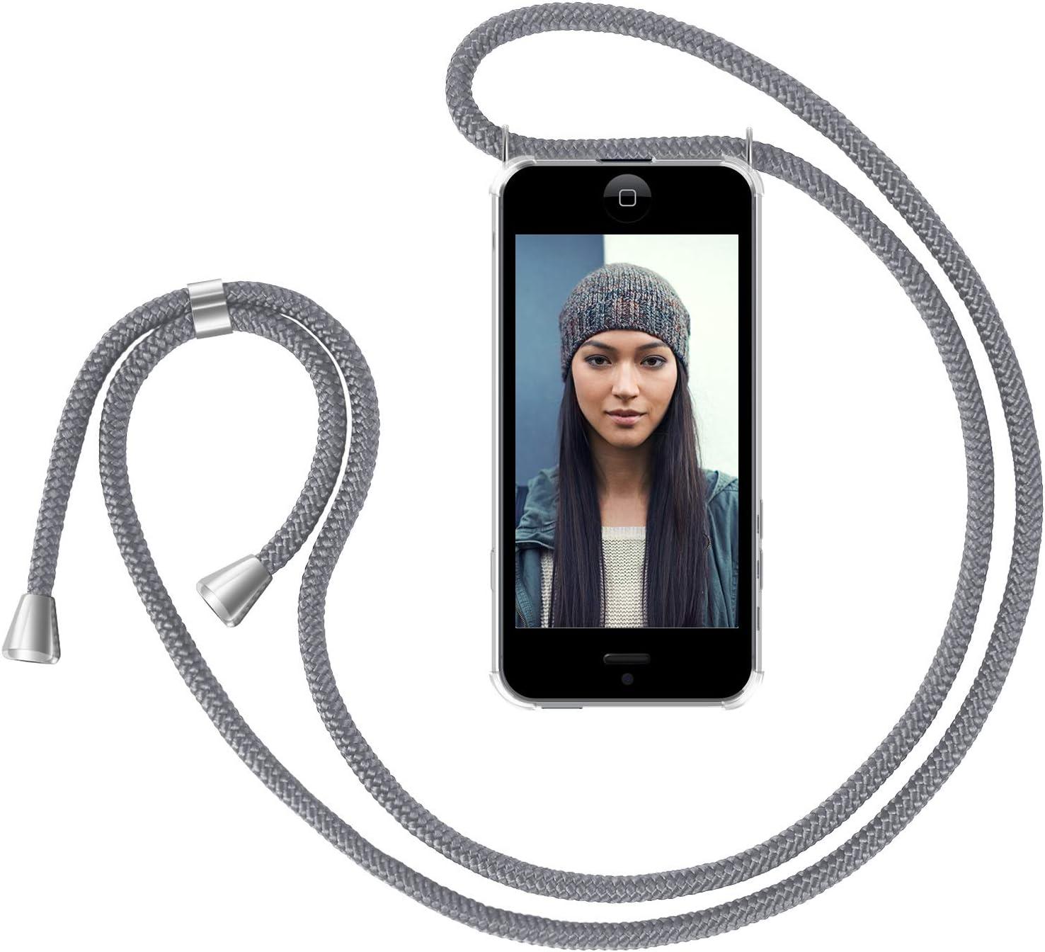 Zhinkarts Handykette Kompatibel Mit Apple Iphone 5 5s Se 2016 Smartphone Necklace Hülle Mit Band Handyhülle Case Mit Kette Zum Umhängen In Grau Elektronik