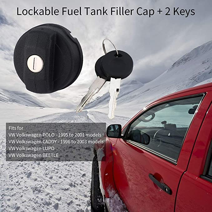 Couvercle de Capuchon verrouillable de Remplissage de r/éservoir de Carburant de qualit/é sup/érieure avec 2 cl/és pour pi/èces de Rechange pour Accessoires de Voiture de v/éhicules Volkswagen