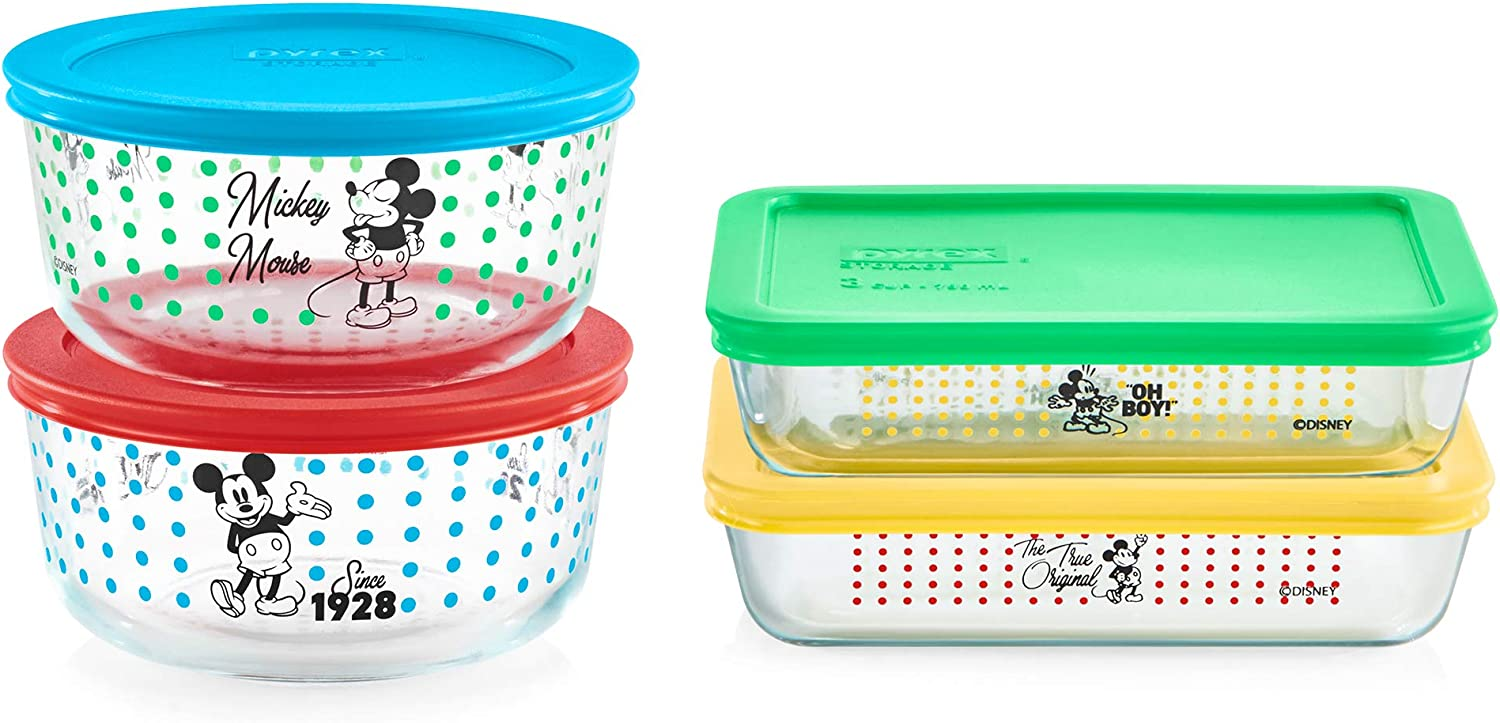 Pyrex Mickey Mouse-The True Original Food Storage, 8 Piece