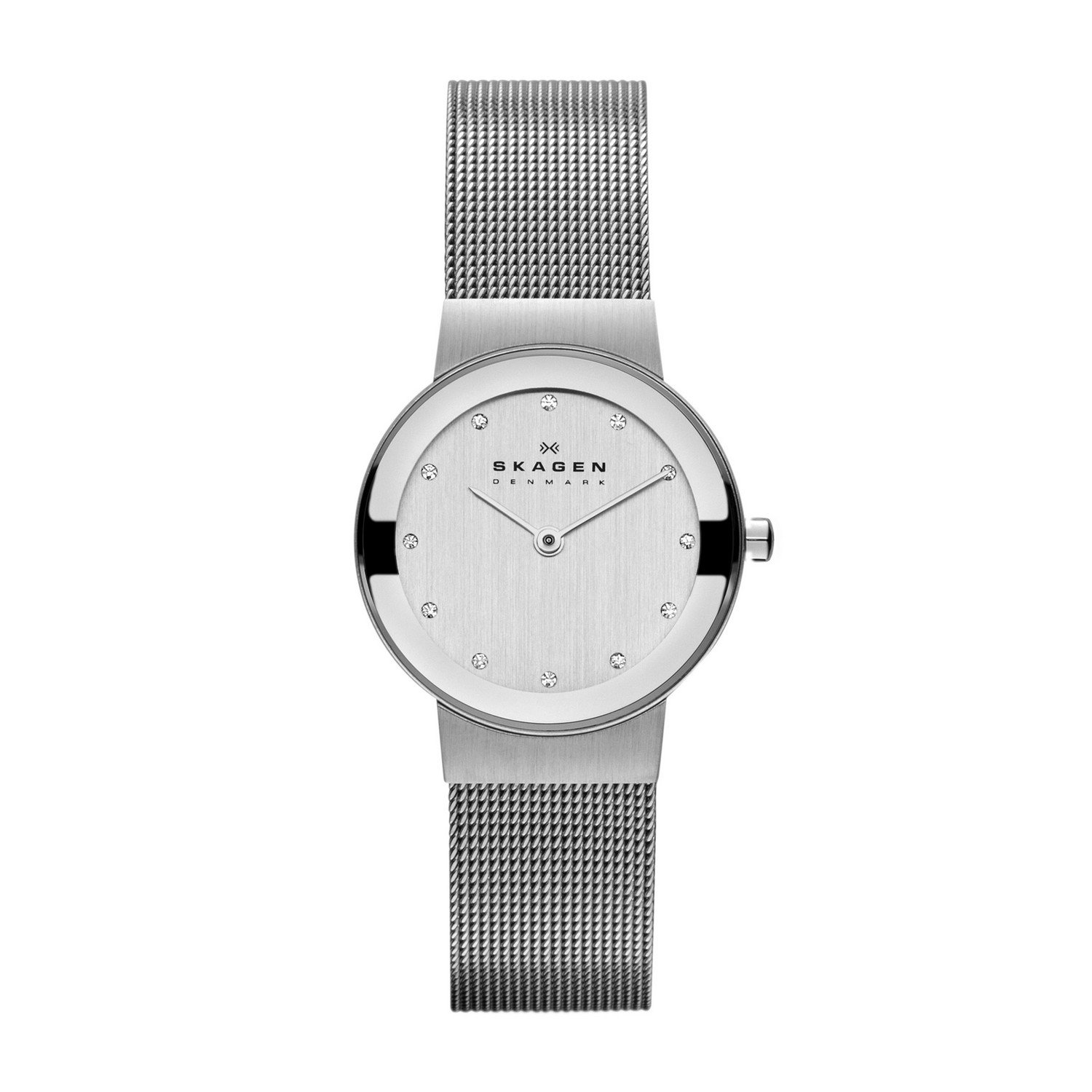 silver anita metal watch skagen mesh dial steel watches stainless ladies