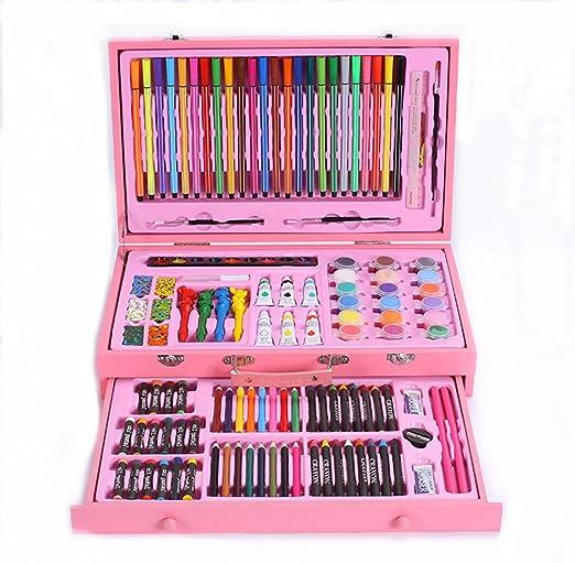 Kanqingqing Caja Colores Niños 130 Conjuntos de útiles Escolares Juego de Dibujo para niños Escolares Pincel Acuarela Lápiz Crayón Arte Papelería niños Principiantes y Artistas: Amazon.es: Hogar