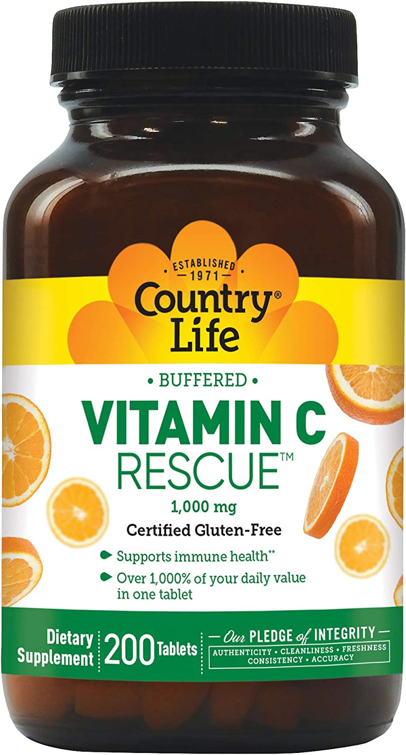 Country Life Buffered Vitamin C Rescue with Rose Hips 1,000mg - 200 Tablets - Immune Health and Function