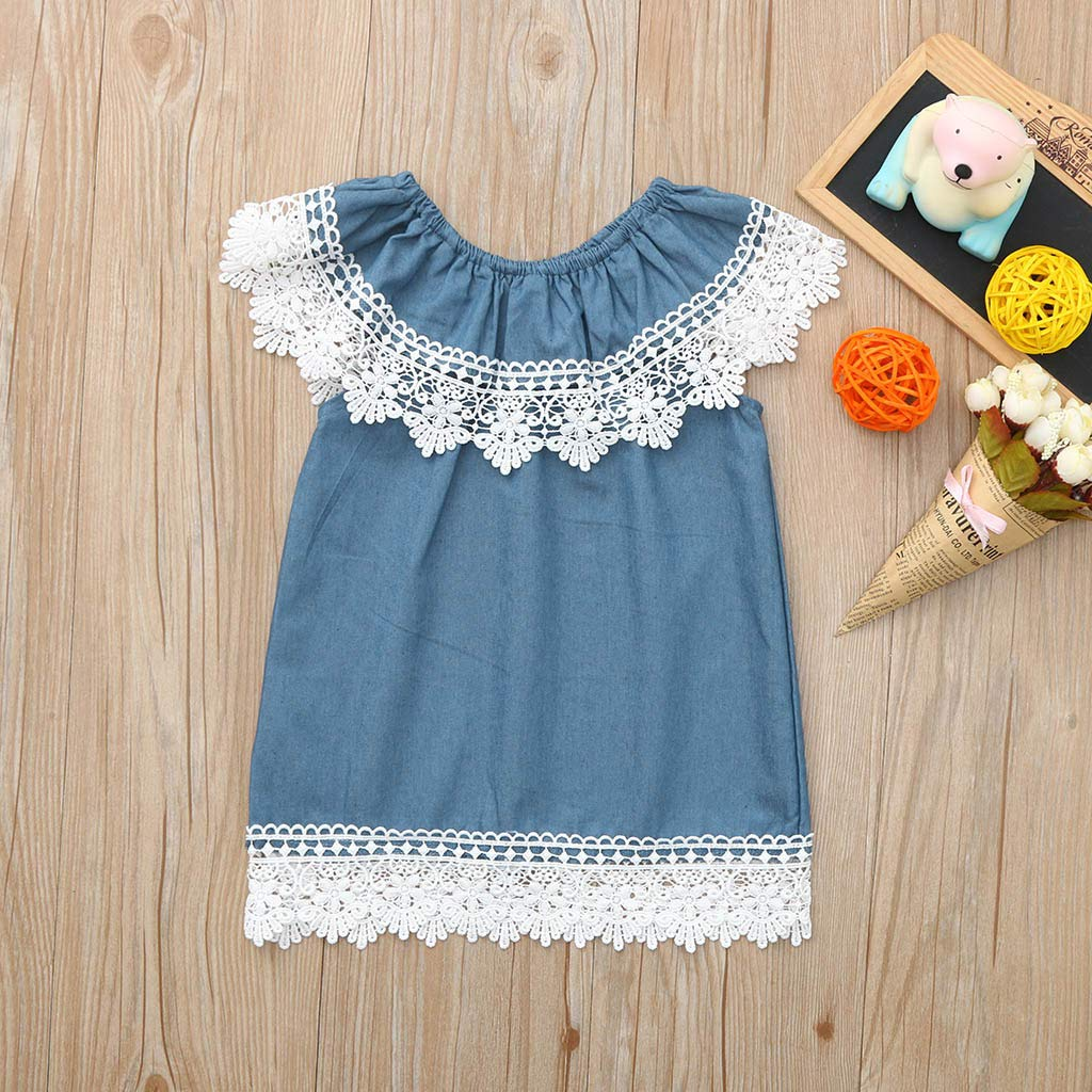 7406fa1a298 Amazon.com  Baby Dress Tronet Toddler Baby Girls Sleeveless Lace Ruffles  Denim Sundress Outfits Clothes Dress  Clothing