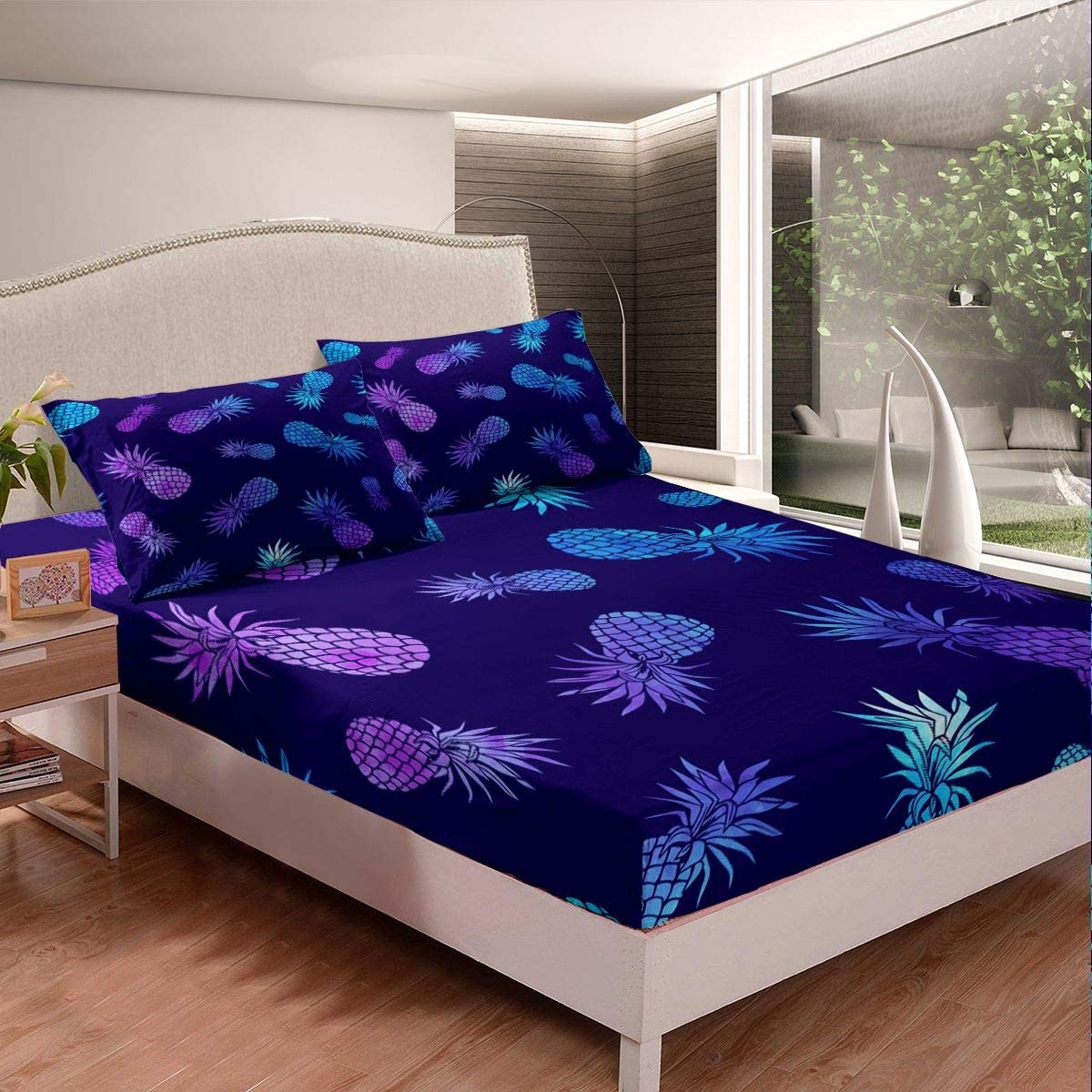 Pineapple Bed Sheet Set Tropical Fruit Print Bedding Set Purple Blue Pineapple Pattern Fitted Sheet for Children Kids Boys Girls Bohemian Exotic Style Bed Cover No Flat Sheet Room Decor Queen Size